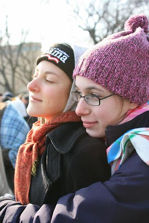 "<a href=""http://www.dailyprincetonian.com/slideshows/166/expand/""><i>The Daily Princetonian,</i> January 21, 2009 - ""2009 Inauguration of President Barack Obama""</a>  Caption: 3rd & the Mall, 12:15 p.m. - Carolyn Edelstein '10 (l.) and Sara Shaw '10 share an emotional moment during President Obama's inaugural address."