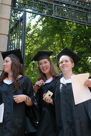 """<a href=""""http://www.dailyprincetonian.com/2008/06/03/21267/""""><i>The Daily Princetonian,</i> June 3, 2008 - """"University confers degrees at 261st commencement""""</a>  Caption: Graduating seniors walk out FitzRandolph Gate following the University's 261st Commencement."""