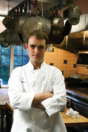 "<a href=""http://www.dailyprincetonian.com/2009/09/28/23920/""><i>The Daily Princetonian,</i> September 28, 2009 - ""Terrace Club looks to the future""</a>  Caption: Newly hired head chef Olin Noren plans to bring seasonal and organic options to the club's cuisine."