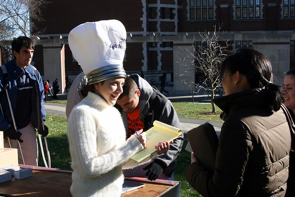 """<a href=""""http://www.dailyprincetonian.com/2008/11/21/22202/""""><i>The Daily Princetonian,</i> November 21, 2008 - """"Students snap up CFLs""""</a>  Caption: Class of 2010 president Connor Diemand-Yauman '10 and Greening Princeton gave away more than 1,000 energy-efficient compact fluorescent light bulbs on Frist North Lawn Wednesday and Thursday."""
