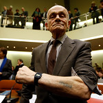 Robert Cohen, joint plaintiff in the trial against presumed former concentration camp guard John Demjanjuk, shows a tattoo he got from Nazi's in the death camp Auschwitz-Birkenau, in a court …
