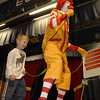 "Early Childhood Center student Lucas VanBlaricom, 4, stalks Ronald McDonald in a presentation about bullying Wednesday. The school presented ""A Friendship Adventure with Ronald"" four times Wednesday."
