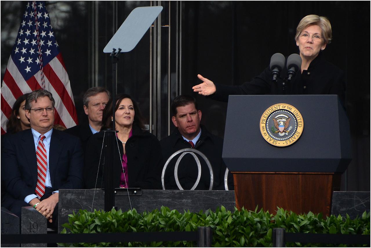 Speaking at podium: US Senator Elizabeth Warren (D-Mass.)