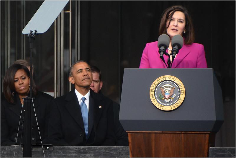 Speaking at podium: Victoria Reggie Kennedy, second wife/widow of Edward M. Kennedy.