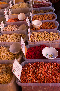 grains, seeds, peas, and beens in open air market, China Town, San Francsico