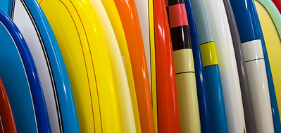 Surfboards lined up for sale in a Huntington beach surf shop