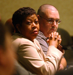 City Council members Donna Mitchell and Kevin Brubaker listen at the City Council meeting regarding Design Review process Oct. 13.   Steve Manheim