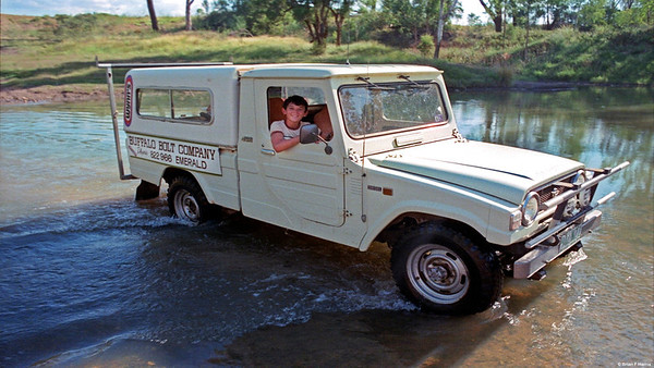 Keith Harris in our Buffalo Bolt Co 4x4 diesel Diahatsu F 55 at the old weir in Emerald. Nagoa River.