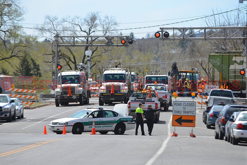 S. Sierra Madre Street, near W. Fountain Boulevard, closed due to a nearby train derailment in Colorado Springs, Colorado. April 13, 2015