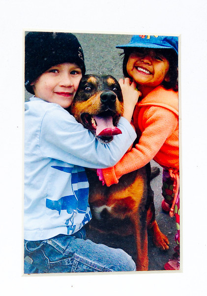 Copy shot of Jack and Lucy Mollner with their dog, Belle, who was shot by a police officer when the officer came to their home to take a fraud report.