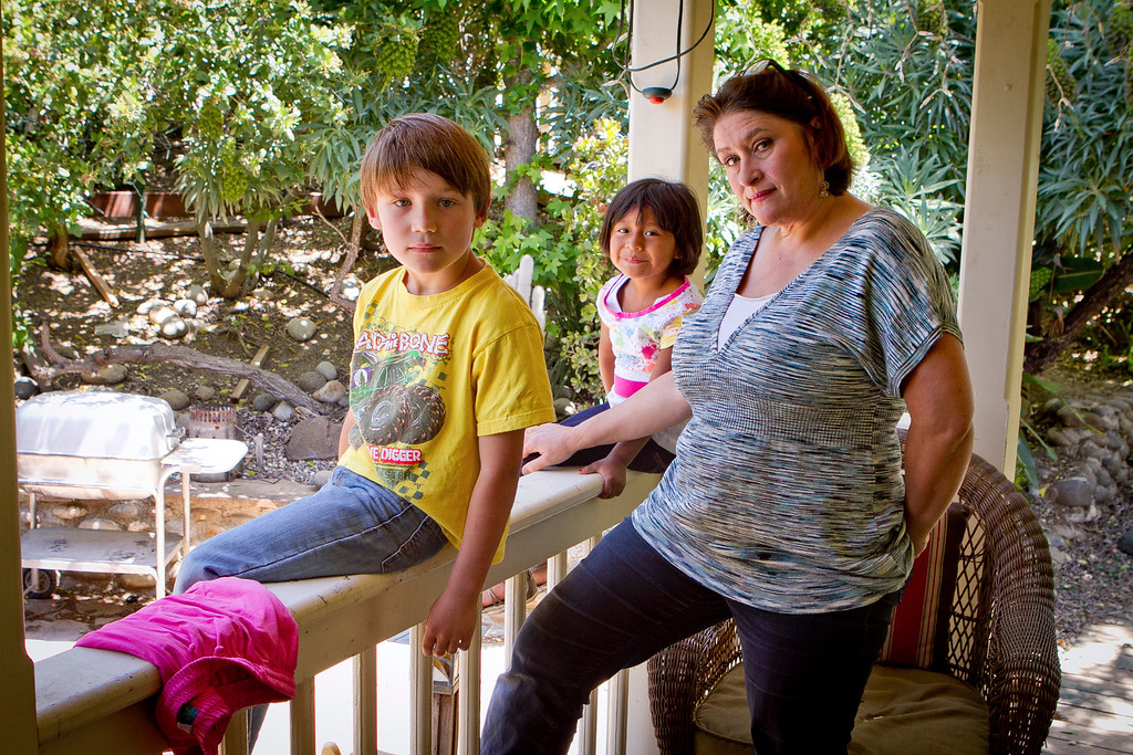 Erika Gregory with her children, Jack and Lucy Mollner at their home in Vallejo, Calif., on Thursday, May 17th, 2012. Their dog, Belle, was shot by a police officer when the officer came to their home to take a fraud report.
