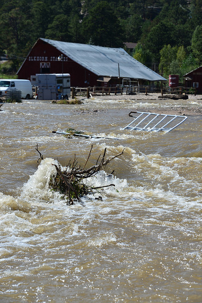 The Fall RIver continues on a new path through the Elkhorn Lodge pasture on Tuesday. Last week's flood waters have cut new channels for rivers around Estes Park.