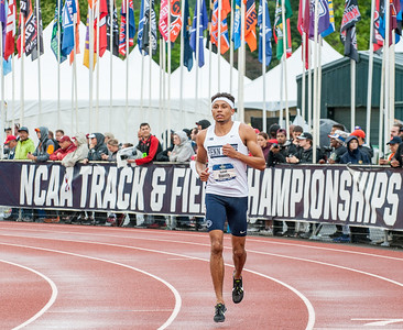 Lewiston High School graduate and Penn State senior Isaiah Harris warms up at Hayward Field in Eugene, Oregon prior to winning the NCAA Division 1 800 meter race during June's National Championships.  Shortly after the race he signed a professional contract with Nike, but will return to Penn State to finish his schooling.(Russ Dillingham/Sun Journal)