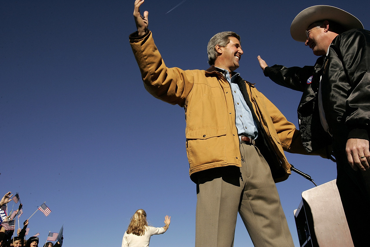 10/23/2004 -- Senator John Kerry held a rally in Pueblo, CO on Saturday morning, October 23, 2004. Speaking before him and remaining on the stage throughout his speech were Colorado State Attourney General and senatorial candidate Ken Salazar and also Kerry's daugher, Vanessa Kerry.  Photo by Dina Rudick, Boston Globe Staff