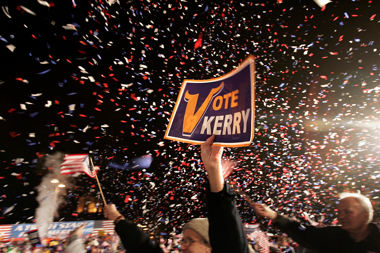 10/21/2004 -- Minneapolis, MN -- The parking lot of the Metrodome -- Senator John Kerry held a large rally (25-30,000 people estimates the campaign) in Minneapolis, MN on Thursday night, October 21, 2004. Former senator and Vietnam veteran Max Cleland attended and spoke at the event as well. Photo by Dina Rudick, Boston Globe Staff