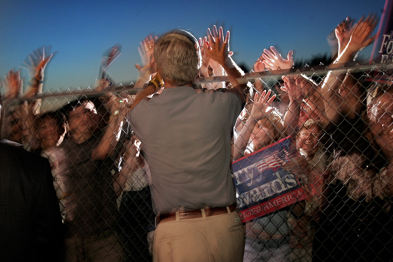 8/1/2004 -- Taylor, MI -- SenatorJohn Kerry traveled to Taylor, Michigan for a softball game on Sunday night, August 1, 2004. Before the short game, he gave a speech to the gathered audience. Photo by Dina Rudick, The Boston Globe.