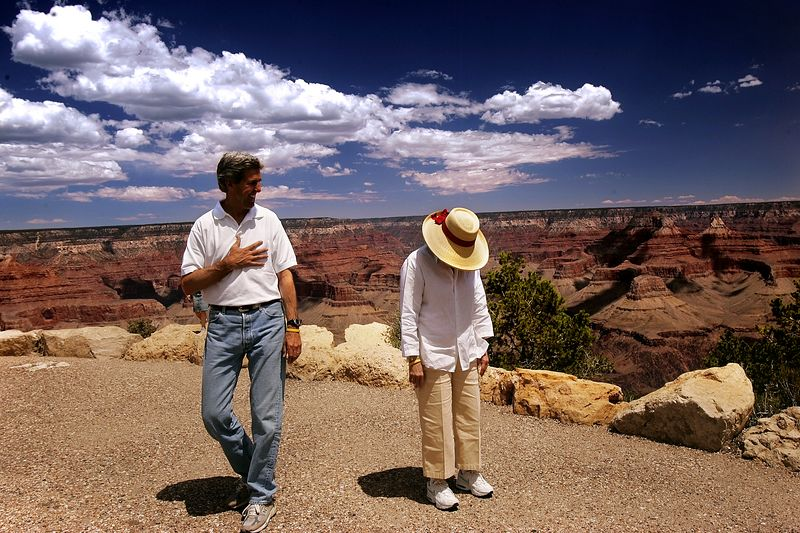 8/9/2004 -- Grand Canyon National Park -- Senator John Kerry takes notice of his wife, Teresa, who is afraid of heights and was experiencing vertigo while they toured the Grand Canyon in Arizona at noon on Monday, August 9, 2004. Also accompanying them were Kerry's daughter, Vanessa, and Teresa's son, Andre. Photo by Dina Rudick, The Boston Globe.
