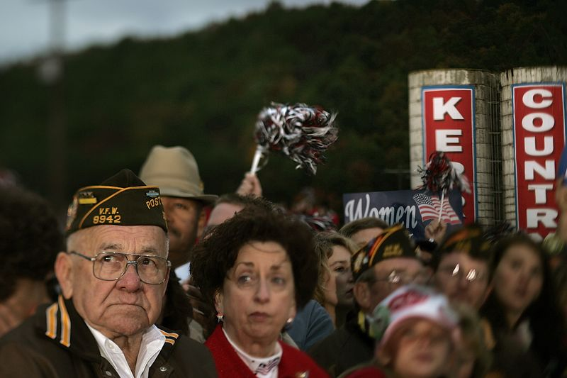 10/16/2004 -- Wakefield, OH -- -- John Kerry held a rally in Wakefield, OH which was attended by an estimated 12,000 people  (the largest political gathering in the history of Pike County, Ohio) on October 16, 2004. Photo by Dina Rudick, Boston Globe Staff