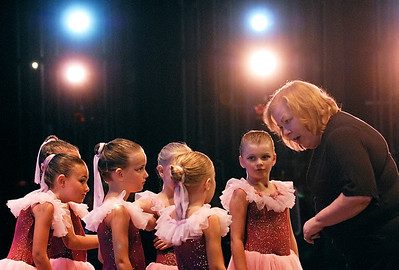 06-02-10  --irene berens 01--  Irene Berens, Marietta City Schools Board vice-chair and Ruth Mitchell Dance Theatre ballet instructor, reviews the steps of the Dulcimer Ballet with her Thursday afternoon ballet students for their Georgia Dance Conservatory Recital at the Jennie T. Anderson Theatre in Marietta.  STAFF/LAURA MOON.