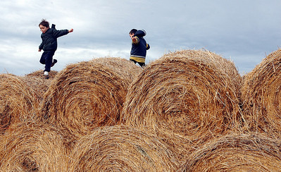 Journal photo by Bill Schaefer Dylan Meyer, 6, left, and his brother Jesse, 4, jumps from hay bale to hay bale during a holiday open house at the Hartland Ranch Saturday afternoon.