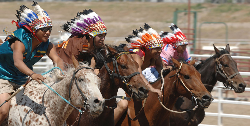 Four entrants are nose to nose as they approach the starting line of the Fort Hall Chief's Race during the Pioneer Day celebration at the North Bannock County Fairgrounds in Pocatello, ID, Saturday afternoon, July 19, 2008. AP Photo/Idaho State Journal, Bill Schaefer(IDPOC103).