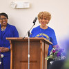 KRISTIN BAUER / CHRONICLE <br /> Regina Shockley, NAACP Membership Charge, and Regan L. Phillips, Mistress of Ceremonies, (LEFT) spoke at the NAACP Membership Breakfast on Saturday morning, April 14.