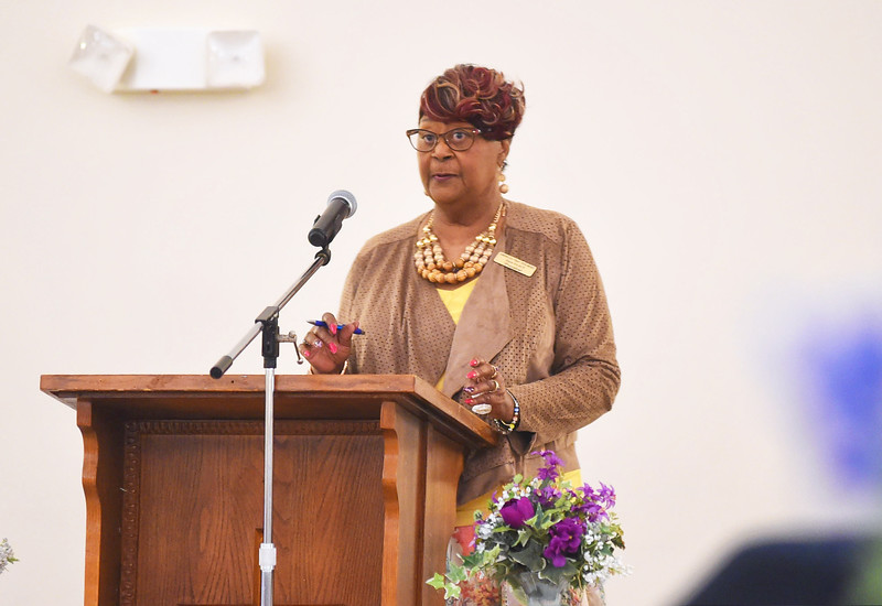 "KRISTIN BAUER / CHRONICLE <br /> Ardelia R. ""Dee"" Tolbert, President of the Elyria Unit of the NAACP, spoke at the NAACP Membership Breakfast on Saturday morning, April 14."