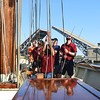 KRISTIN BAUER | CHRONICLE<br /> Crew members aboard the Baltimore II tall ship put the sails down after the ship makes its way under the lifted Charles Berry Bascule Bridge, in Lorain, on Monday afternoon, Sept. 5, returning to Black River Landing.