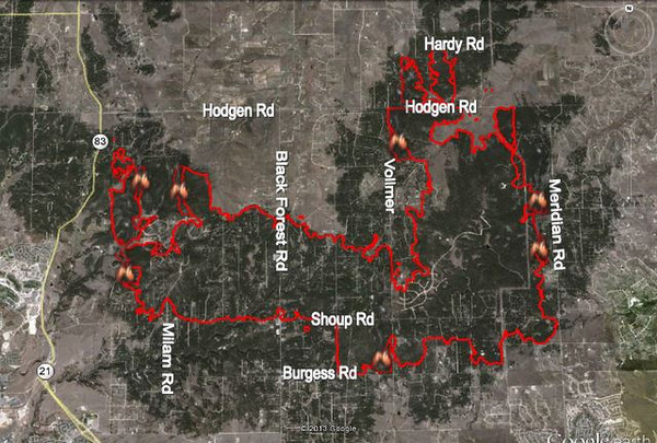 Fire Map of the Black Forest Fire Incident, near Colorado Springs, Colorado.