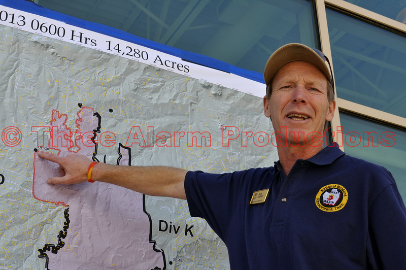 At 6:00 am on Wednesday, June 13, Rich Harvey''s, Type I Great Basin Incident Management Team assumed command of the Black Forest Fire.<br /> <br /> This pic from Day 8 of the Black Forest Fire Incident.<br /> <br /> Fire Facts: <br /> Date started: June 11, 2013 <br /> Number of Personnel: 800 <br /> Location: Within the City Limits of Black Forest, Colorado <br /> Crews: 1 <br /> Size: 15,702 acres<br /> Engines: 50 <br /> Percent Contained: 5%Estimated Containment: TBD <br /> Dozers: 5 Water Tenders: 5 <br /> Cause: Under investigation <br /> Helicopters: 7 Type 1 and 1 Type 3 <br /> Structures lost: 360 Structures damaged: 13 <br /> Injuries to Date: 1<br /> Cost to Date: $2,000,000
