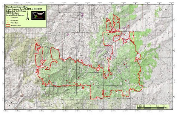 Black Forest Fire Incident Infrared Map.<br /> Rich Harvey is the Incident Commander of the Great Basin Type 1 Incident Management Team assigned to this disaster.<br /> 75 percent containment on the perimeter of the fire, just confirmed by Rich Harvey on June 17, 2013, at 11:30 AM.