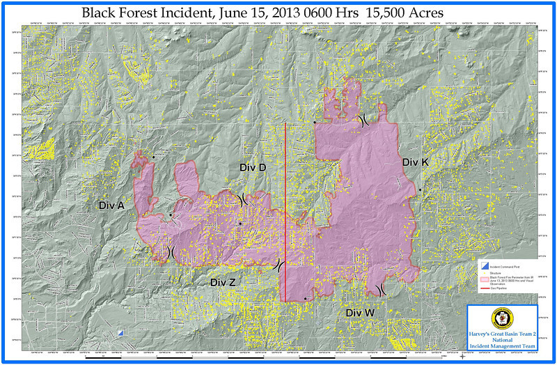 Day 5 Black Forest Fire Incident Map. June 15, 2013 0600 Hours 15,500 Acres<br /> Per El Paso County Sheriff: After more assessment overnight, total #s known on homes: 473 lost, 17 partial loss, 3,181 appear unaffected.