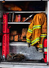 One of the tool compartments of Colorado Springs Fire Department's Ladder Truck 10.