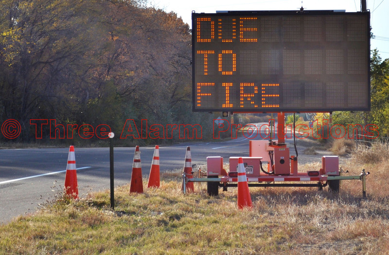 Colorado Highway closed because of a wildfire.