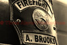 Firefighter helmet close-up.