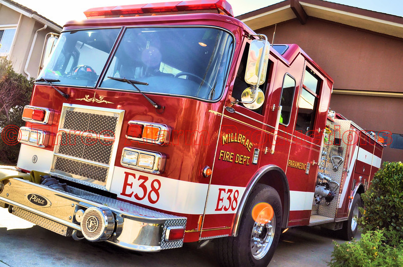The City of Millbrae, Fire Engine 38, California.<br /> <br /> Millbrae is a city in San Mateo County, California, United States, just west of San Francisco Bay.<br /> <br /> CITY OF MILLBRAE FIRE DEPARTMENT FACTS<br /> -2 Fire Stations (Station 37 - 511 Magnolia Ave.; Station 38 - 785 Crestview Dr.)<br /> -San Mateo County Dispatch<br /> -27 Personnel (1 Fire Chief, 2 40hr. Division Chiefs, 23 Shift Personnel, 1 25hr. Admin Asst)<br /> -3 Fire Engines (2 Hi-Tech, 1 Van Pelt 1500 gpm Class A Pumpers)<br /> -1 Fire Chief Command Vehicle (Crown Victoria)<br /> -1 Division Chief Command Vehicle (Ford Expedition)<br /> -1 Training Division Chief Command Vehicle (Ford Expedition)<br /> -1 Fire Marshal Division Chief Vehicle (Crown Victoria)<br /> -1 Utility Truck (General Motors)<br /> <br /> In 1931, citizens organized a volunteer fire department, which remained entirely volunteer until 1938. The police and fire departments were housed together for several years at Hillcrest Boulevard and El Camino Real before the vital services moved to their permanent location in Millbrae's civic center.