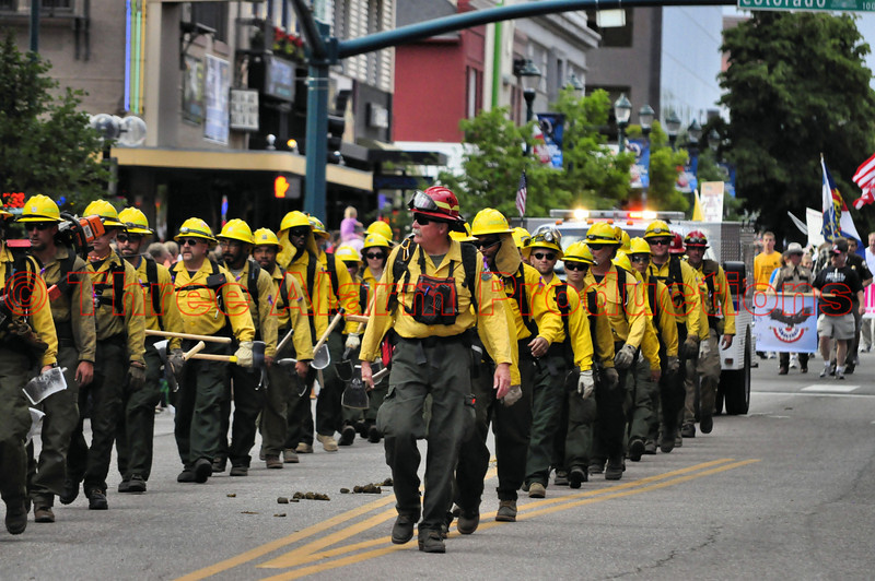 The El Paso County Wildland Fire Crew (EPSOWF) at the Pikes Peak Rodeo Parade. Summer 2013