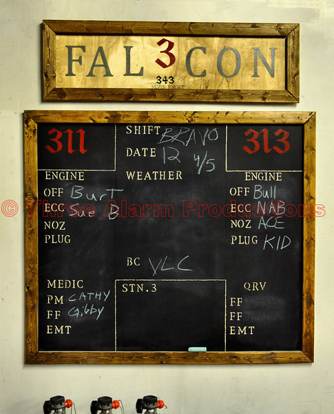 Falcon Fire Protection District's Apparatus Assignment Board at the fire station.