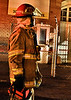 Pueblo Fire Captain Hammond on the scene of a flare-up on the meatpacking plant fire.
