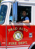 A Palo Alto Driver/Engineer with Engine 2 on an automatic fire alarm at the VA Hospital.