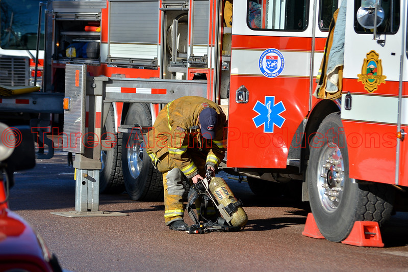 Colorado Springs Firefighter on the scene of an apartment fire.
