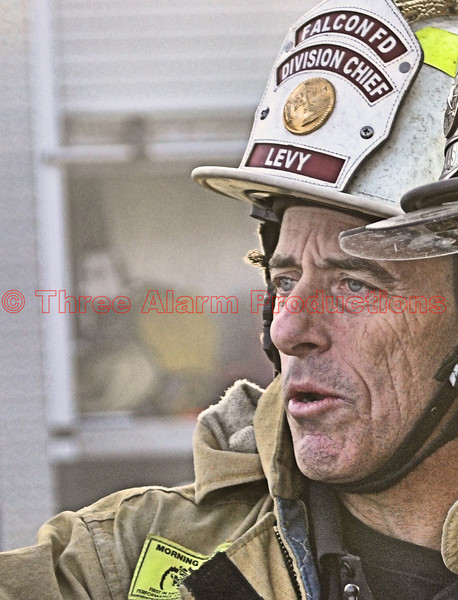 Falcon Fire Officer-Division Chief Levy, on the scene of a structure fire in eastern El Paso, County, Colorado, USA.