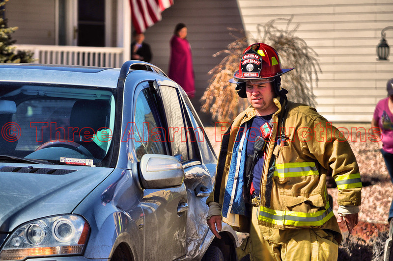 Falcon Fire Lt. Gortner assessing hazards at a T-bone Traffic Accident in a Falcon, CO neighborhood.