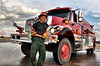 A fire fighter with the South Arkansas Fire Protection District, Salida, Colorado, assigned to the Waldo Canyon Fire.