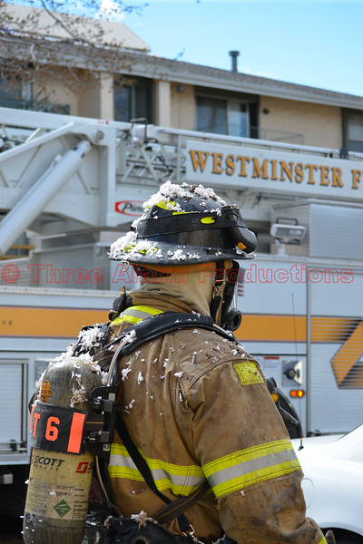 A Westminster Firefighter on the scene of working apartment fire in Colorado.