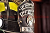 CHFD Firefighter helmet close-up.