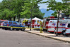 AMR Ambulances staged at Coronado High School and staffed with volunteers of off-duty paramedics and EMT's from AMR for the Waldo Canyon Fire Incident.