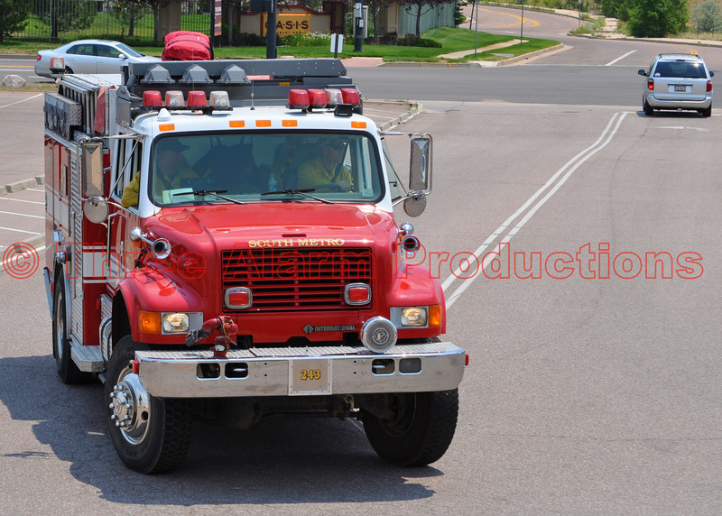 South Metro Fire Department's Wildland Truck 243 arriving at staging on the Waldo Canyon Fire Incident.