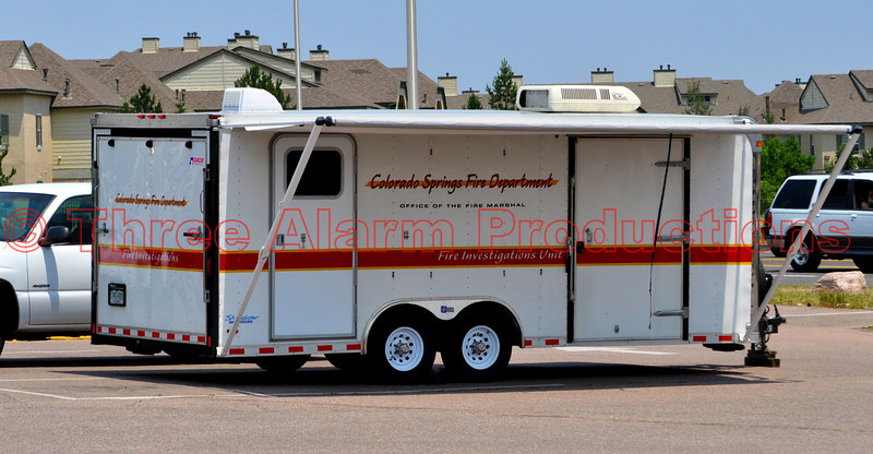 Emergency trailer from Colorado Springs Fire Department being operated at staging at Coronado High School in Colorado Springs, Colorado USA.