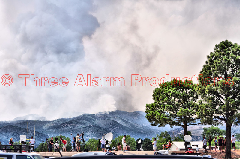 """""""Media Staging Point"""" at Coronado High School, on """"Day Two"""" of the Waldo Canyon Fire Incident in Colorado."""
